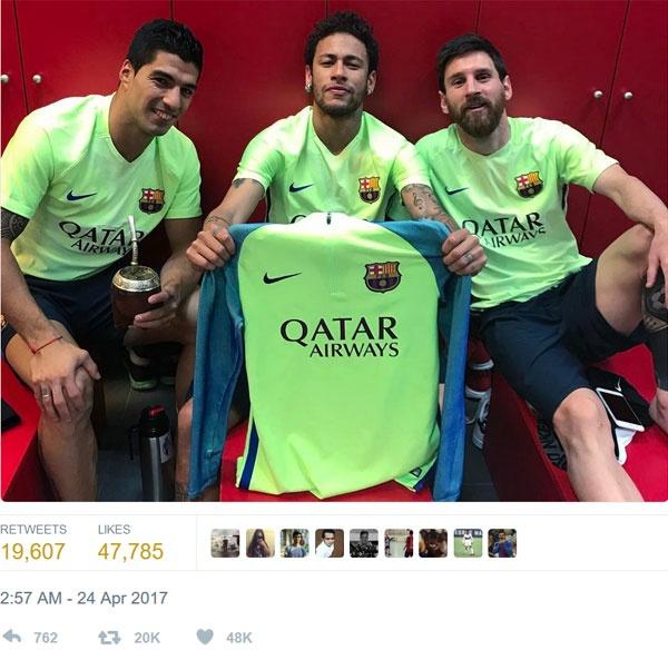 Neymar choc tuc Real khi tai hien man an mung cua Messi hinh anh 1