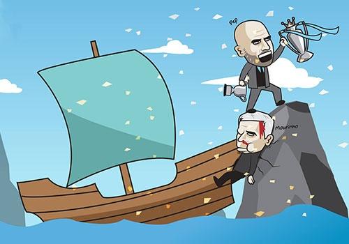 Hi hoa Mourinho do mau cung khong the can Guardiola nang cup hinh anh