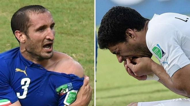 10 su kien bong da khien fan choang vang nam 2014 hinh anh 8 Lần thứ 3 trong sự nghiệp, Luis Suarez lại trổ tài cắn cầu thủ trên sân. Nạn nhân mới nhất của tiền đạo 27 tuổi là trung vệ Giorgio Chiellini khi Uruguay đụng Italy tại World Cup 2014. Vì vụ đó mà Suarez bị đuổi về nước ngay sau trận đấu và nhận án phạt nghiêm khắc từ FIFA: cấm thi đấu trong vòng 4 tháng và bị treo giò 9 trận chính thức tại sân chơi quốc tế. Bất chấp scandal nói trên, Barca vẫn bỏ ra 81 triệu euro để chiêu mộ S9 từ Liverpool.