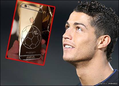 Ronaldo va cac sao bong da so huu iPhone 6 ma vang doc dao hinh anh