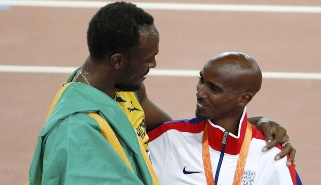 Usain Bolt chuc mung nha vo dich the gioi noi dung 5.000 m hinh anh