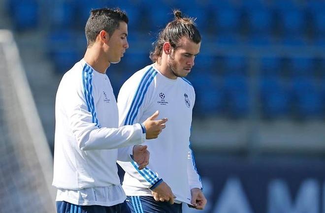Ronaldo va Bale than mat trong buoi tap chuan bi cho Cup C1 hinh anh
