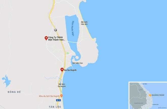 Khu vực tàu hàng SH3 bị trật bánh đường ray gần ga Sa Huỳnh, xã Phổ Thạnh (huyện Đức Phổ). Ảnh: Google Maps.