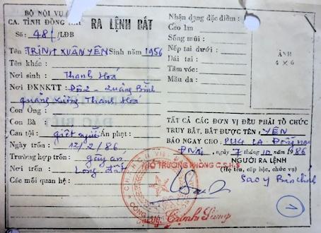 29 nam truy tim ke giet nguoi hinh anh 1 Quyết định truy nã đối với Trịnh Xuân Yên.