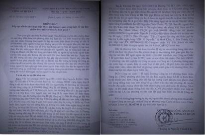 Nan gia cong an goi dien lua tien ty hinh anh 1 Thông báo công an gửi đến từng nhà dân. Ảnh: Khánh Trung.