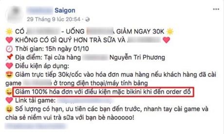 Xu phat quan tra sua o Sai Gon khuyen mai cho khach mac bikini hinh anh 2