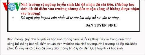 Thông báo của trường THPT Lương Thế Vinh Hà Nội về lỗi kỹ thuật xảy ra trong quá trình công bố thông báo và điểm chuẩn vào 10 trên website của nhà trường.
