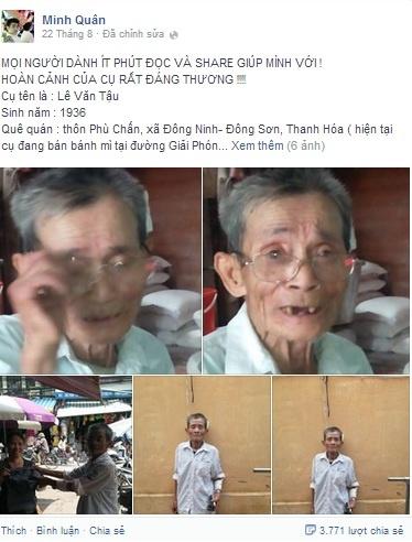 Cu gia ban banh mi rong bat khoc khi duoc dan mang cuu giup hinh anh 1 Chia sẻ của Minh Quân trên Facebook cá nhân.