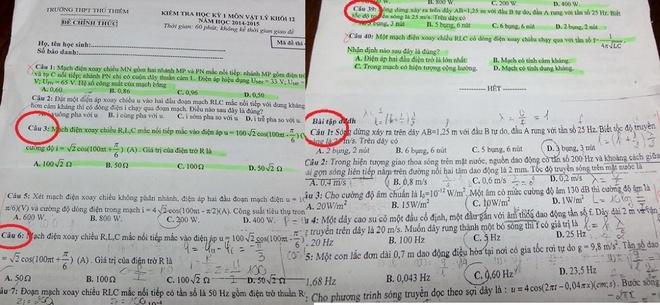 Tiet lo de thi cho hoc sinh hoc them hinh anh 1 Câu 6 và câu 1 (khoanh tròn) trong phần bài tập tại lớp học thêm trùng với câu 3 và câu 39 (khoanh tròn) trong mã đề thi học kỳ 1 môn vật lý khối 1.