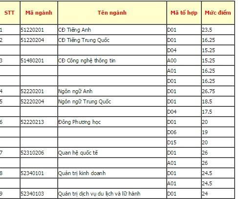 DH Ngoai ngu - Tin hoc TP HCM cong bo diem chuan hinh anh 1