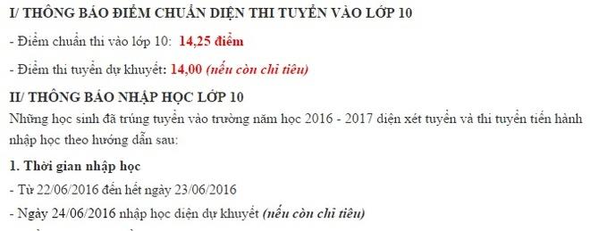 Truong THPT thu hai tai Ha Noi cong bo diem chuan lop 10 hinh anh 1