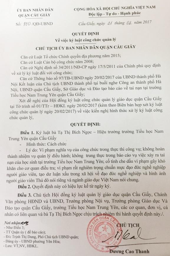 Hieu truong Nam Trung Yen vang mat tai buoi cong bo ky luat hinh anh 2