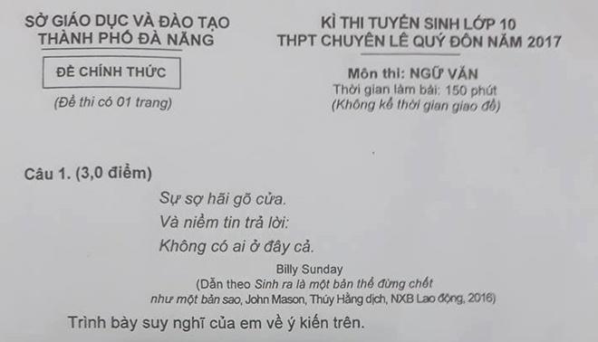 Tranh luan ve de thi Ngu van vao truong chuyen o Da Nang hinh anh