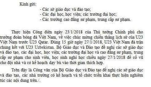 Bo GD&DT de nghi dieu tra cong van cho hoc sinh nghi hoc xem bong da hinh anh