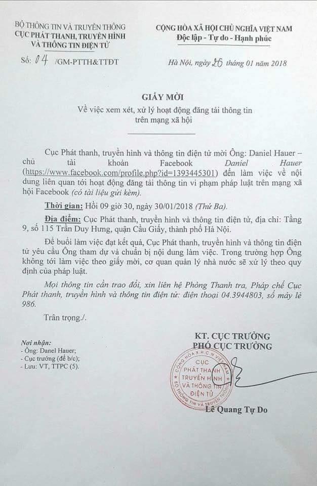 Bo Thong tin va Truyen thong moi ong Daniel Hauer lam viec hinh anh 1