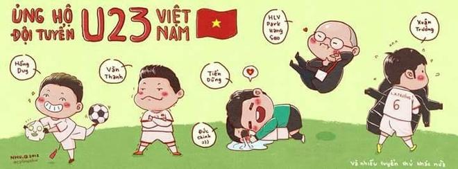 Cac 'nam than san co' U23 Viet Nam qua phien ban tranh ve hai huoc hinh anh 1
