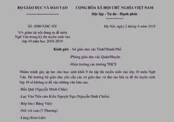 Bo GD&DT de nghi cong an dieu tra van ban gia mao ve thi lop 10 hinh anh