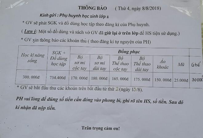 Phu huynh to truong tieu hoc Do thi Viet Hung co nhieu khoan thu vo ly hinh anh 2