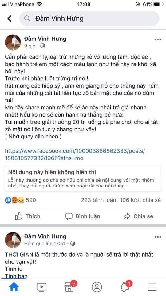 'Facebooker Đàm Vĩnh Hưng kích động bạo lực rất phản giáo dục'