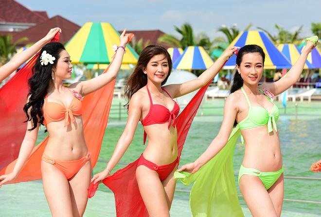 Dan thi sinh Hoa hau Viet Nam nong bong voi bikini hinh anh