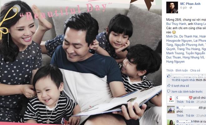 Sao Viet hao hung don ngay Gia dinh Viet Nam hinh anh 3 Hưởng ứng phong trào đăng tải ảnh gia đình hạnh phúc nhân ngày Gia đình Việt Nam 28/6, MC Phan Anh chia sẻ tấm ảnh mới chụp cùng vợ và 3 con xinh xắn.