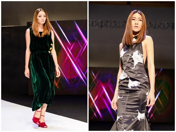 Thi sinh Next Top cao 1,9 m lan dau sai buoc catwalk hinh anh 8 Hoàng Oanh được chọn lựa trình diễn trang phục của Li Lam. Nhà thiết kế nổi tiếng với phong cách phóng khoáng và sử dụng lụa thông thạo.