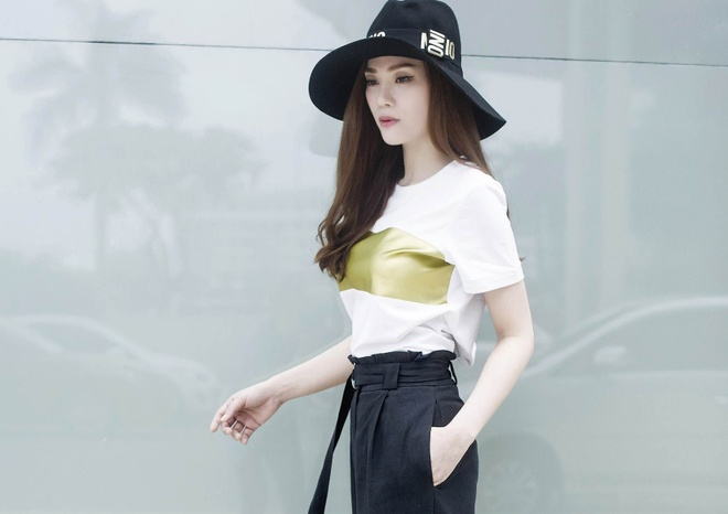 Street style thanh lich cua Thu Thuy hinh anh