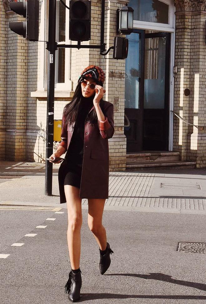 Hoang Thuy khoe street style sanh dieu tren duong pho London hinh anh 4