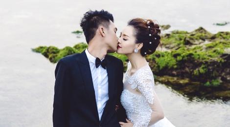 Quang Tuan - Linh Phi hon nhau trong anh cuoi o Ba Na hinh anh