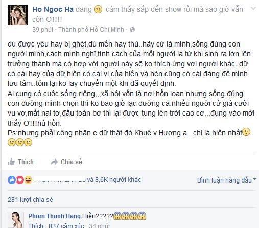 Ho Ngoc Ha benh vuc Pham Huong hinh anh 1