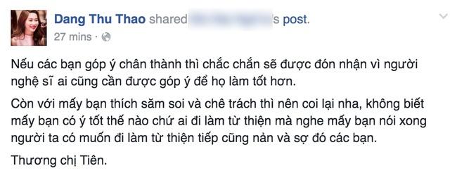 Dang Thu Thao bat binh khi Thuy Tien bi 'nem da' hinh anh 2