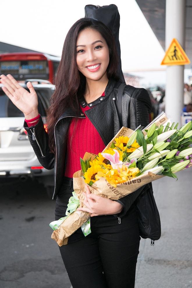 Dieu Ngoc mang 100 kg hanh ly du thi Miss World hinh anh 1