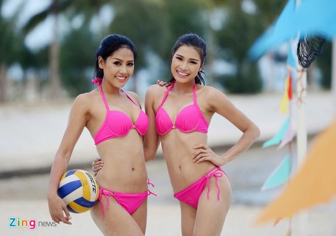 Thi sinh Hoa hau HVVN mac bikini choi bong chuyen hinh anh 13 So với đàn chị, người đẹp sinh năm 1996 đến từ Bắc Ninh có vóc dáng nhỏ bé hơn với chiều cao 1,715 m, cân nặng 49 kg, số đo ba vòng 81-62-85.