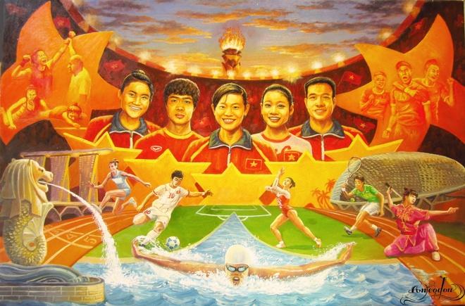 Tranh ve hanh trinh day cam xuc cua U23 Viet Nam o Singapore hinh anh 15