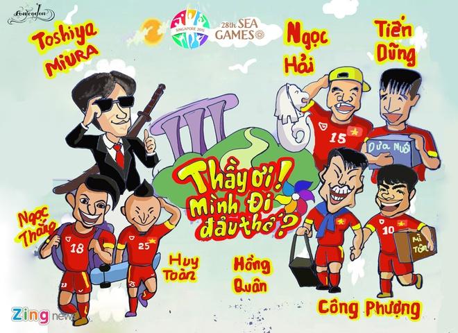 Tranh ve hanh trinh day cam xuc cua U23 Viet Nam o Singapore hinh anh 3