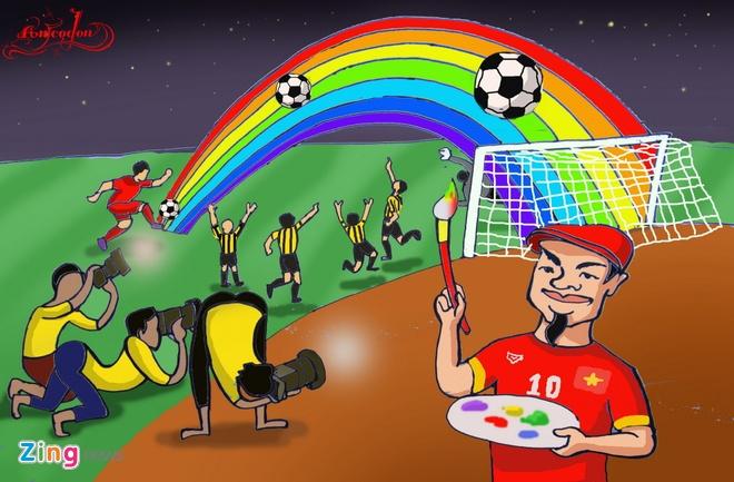 Tranh ve hanh trinh day cam xuc cua U23 Viet Nam o Singapore hinh anh 7