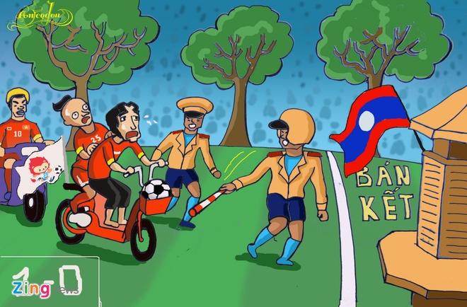 Tranh ve hanh trinh day cam xuc cua U23 Viet Nam o Singapore hinh anh 9