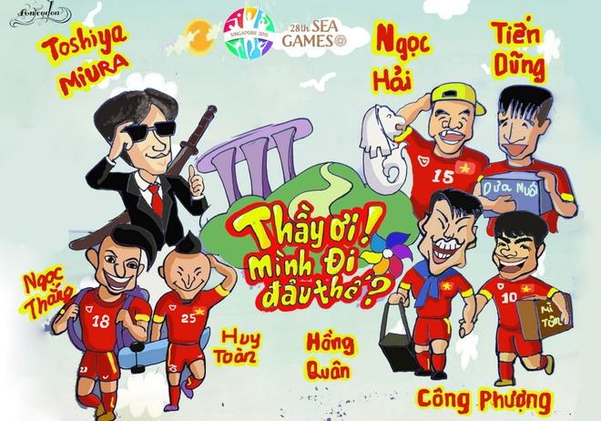 Tranh ve hanh trinh day cam xuc cua U23 Viet Nam o Singapore hinh anh