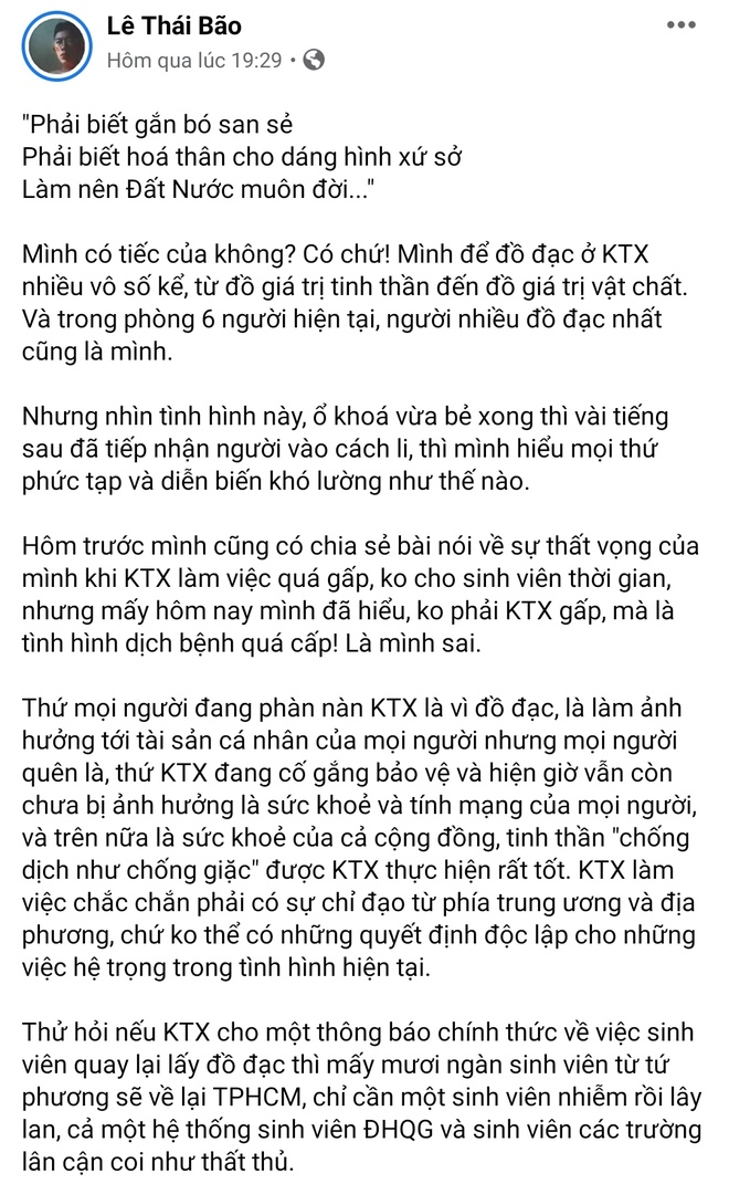 Nam sinh viet tam thu khi KTX DH Quoc gia TP.HCM dung lam noi cach ly hinh anh 1 1482ee770f4bf415ad5a.jpg