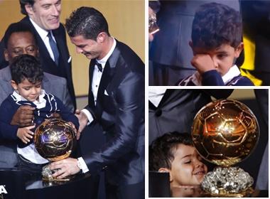 Con trai Ronaldo dang yeu trong ngay vinh danh cua bo hinh anh