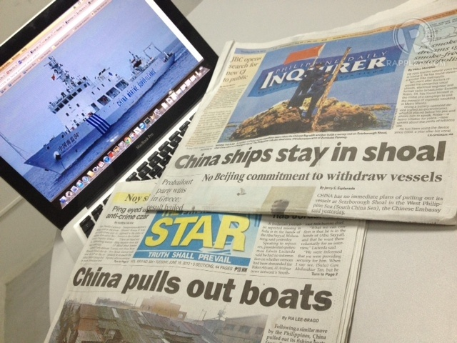 Bai hoc Philippines: Mat bai can vi tin Trung Quoc hinh anh 2 Các bản tin khác nhau về việc Trung Quốc rút tàu khỏi Scarborough. Ảnh: Rappler