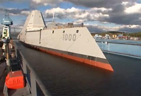 Khu truc ham USS Zumwalt duoc ha thuy hinh anh