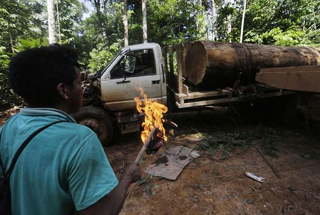 Tho dan rung ram Amazon duoi danh lam tac hinh anh 8 Sau đó, họ dùng lửa đốt xe.