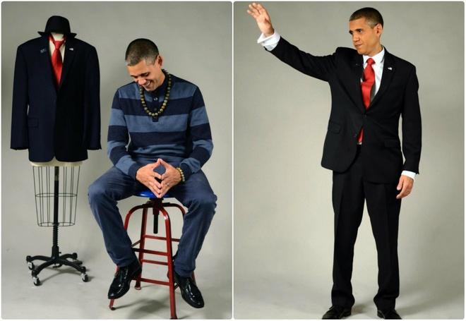 Khoác lên người bộ vest đen, cà vạt đỏ, anh có thể bắt chước cử chỉ, nụ cười và giọng nói của tổng thống Mỹ.