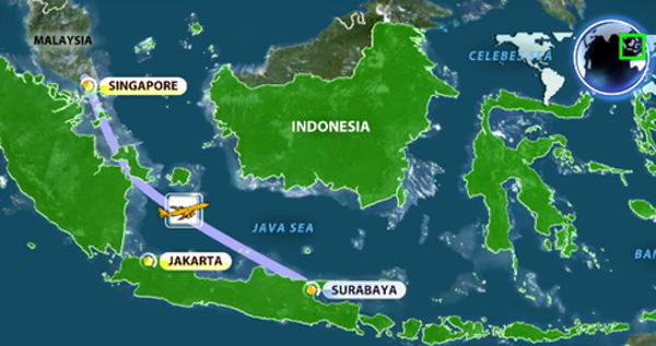 Toan canh mot thang tham kich QZ8501 chan dong the gioi hinh anh 1 Sáng 28/12, máy bay Airbus A320-200 của hãng AirAsia Indonesia, số hiệu QZ8501, mất tích khi đang trên đường bay từ thành phố Surabaya (Indonesia) tới sân bay Changgi (Singapore). Trước khi đài kiểm soát không lưu ở Indonesia mất liên lạc hoàn toàn với phi cơ, radar cho thấy máy bay chưa rời khỏi không phận nước này. Đồ họa đường bay của chuyến bay QZ8501: AFP