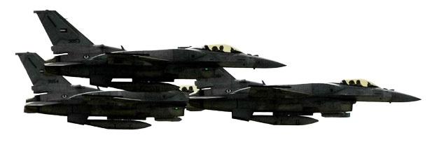 F-16 Fighting Falcon: Đây là loại máy bay chiến đấu đa năng mà nhiều nước tham gia chiến dịch tiêu diệt IS đã sử dụng, như Jordan, Bahrain, các Tiểu vương quốc Ả rập thống nhất (UAE), Hà Lan, Đan Mạch và Bỉ. Khác với những nước phương Tây chủ yếu không kích IS ở Iraq, máy bay của các đồng minh Ả rập tấn công căn cứ IS tại Syria. Ngoài khả năng phóng tên lửa không đối không Sidewinders và không đối đất Maverick, máy bay F-16 còn có thể thực hiện những vụ dội bom và gây nhiễu loạn tín hiệu radar.