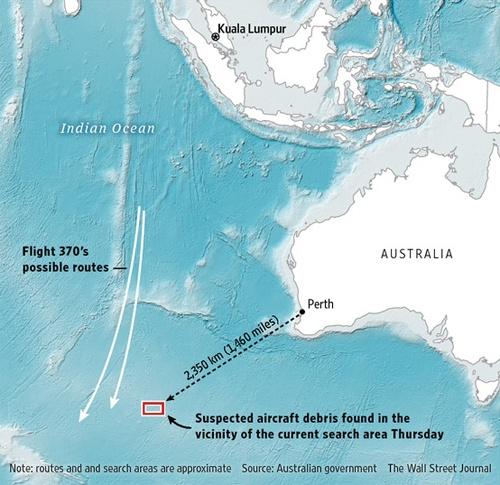 Toan canh 1 nam mat tich bi an cua chuyen bay MH370 hinh anh 14 Australia cho biết họ phát hiện các vật thể tình nghi là liên quan đến MH370 (khu vực chữ nhật đỏ) ở điểm cách thành phố Perth khoảng 2.350 km về tây nam. Ảnh: WSJ