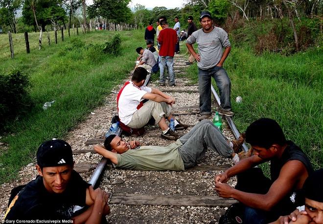 Hanh trinh tren doan tau 'tu than' dua nguoi nhap cu den My hinh anh 4 Trong lúc tàu tạm dừng ở một trạm, các thanh niên tranh thủ nghỉ ngơ hoặc ngủ ngay trên đường ray ở bắc Mexico. Nhiều người đến từ những quốc gia xa xôi trong vùng Nam Mỹ. Phần lớn họ còn rất trẻ, chỉ khoảng hơn 20 tuổi. Tuy nhiên, hành trình đến nước Mỹ của họ vẫn còn rất dài.