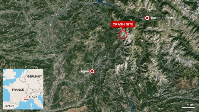 Bản đồ hành trình tai nạn của chuyến bay 4U9525. Ảnh: CNN
