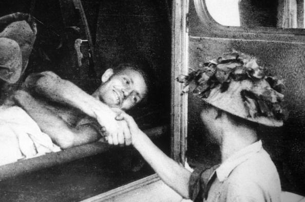 Dien Bien Phu Battle In Dien Bien Phu, Vietnam In May, 1954-Wounded French prisoner being released.